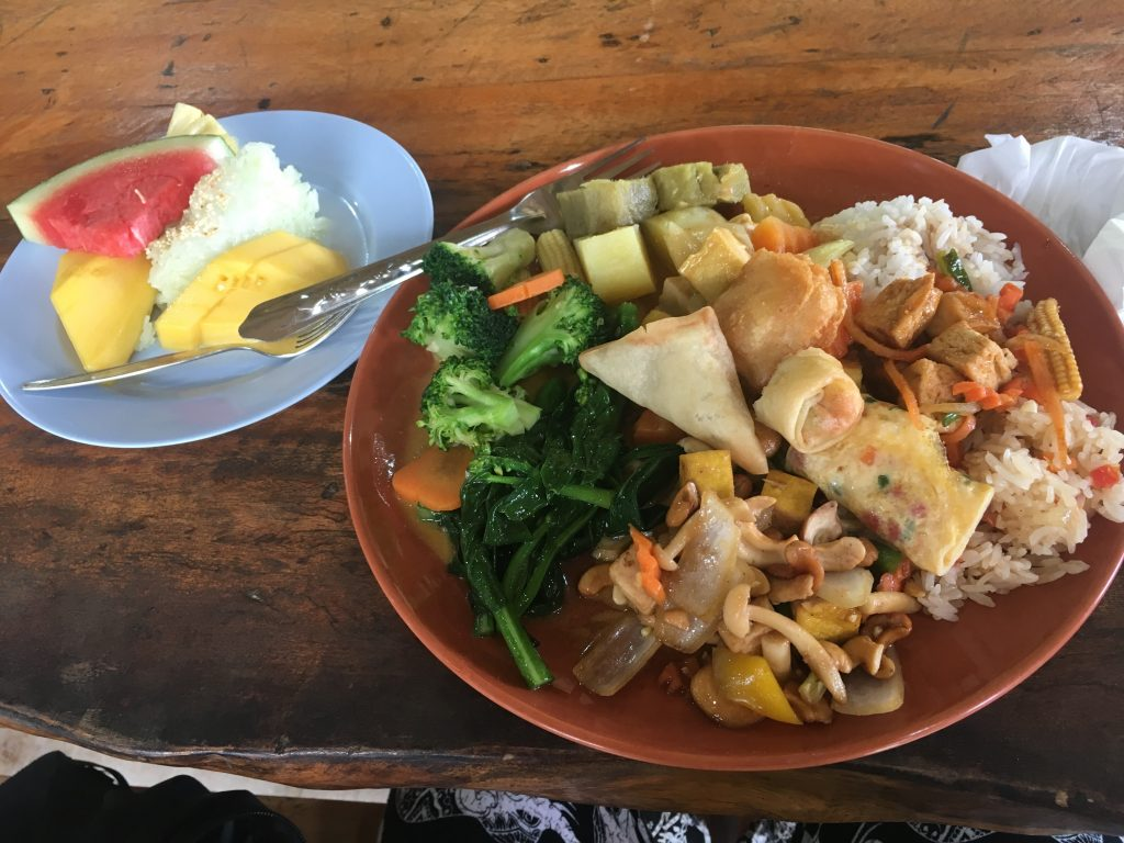 Delicious lunch served after watching elephants at Phuket Elephant Sanctuary in Phuket, Thailand