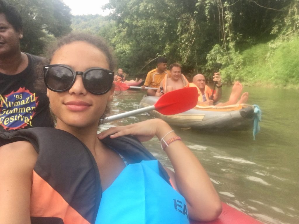 Kayaking down the river in Khao Sok