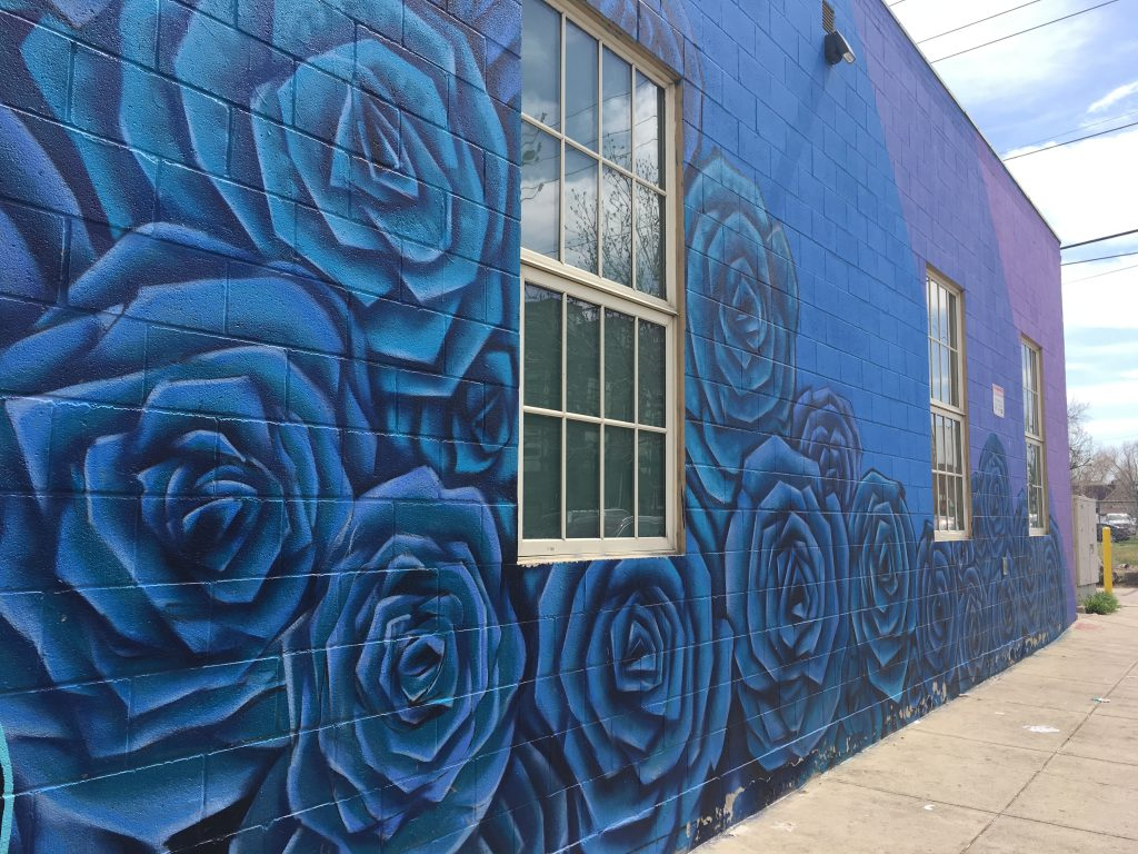 Graffiti of blue roses and blue and purple wall in RiNo arts district of Denver, Colorado.