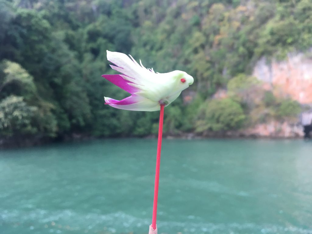 Bird figurine made by kayak guide for Loy Krathong ceremony