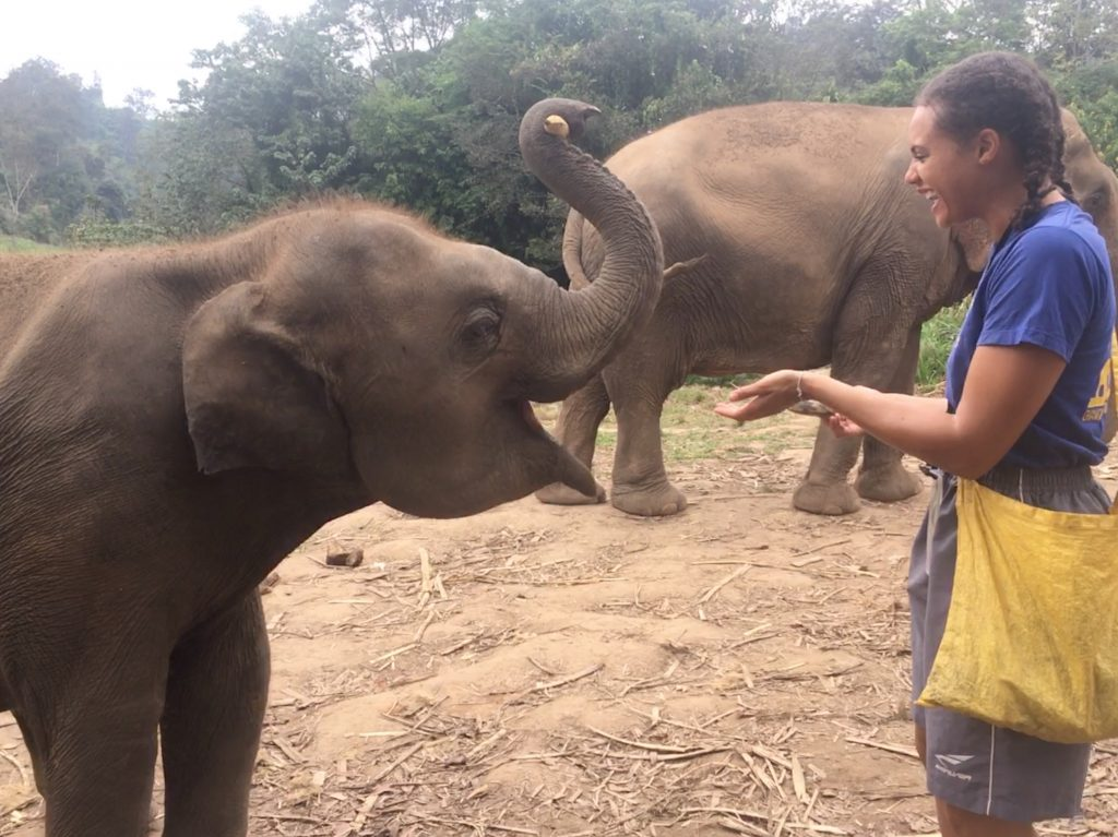 Laughing while feeding a baby elephant during an elephant sanctuary tour in Chiang Mai, Thailand.