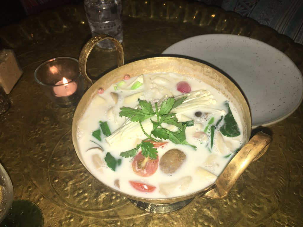 Delicious tom kha gai soup ready to eat at The House at Ginger in Chiang Mai, Thailand